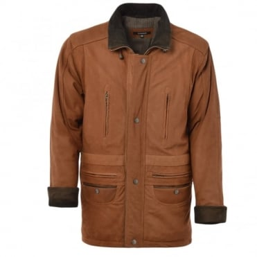 Leather Coat Tan/nub : Aberdeen Safari