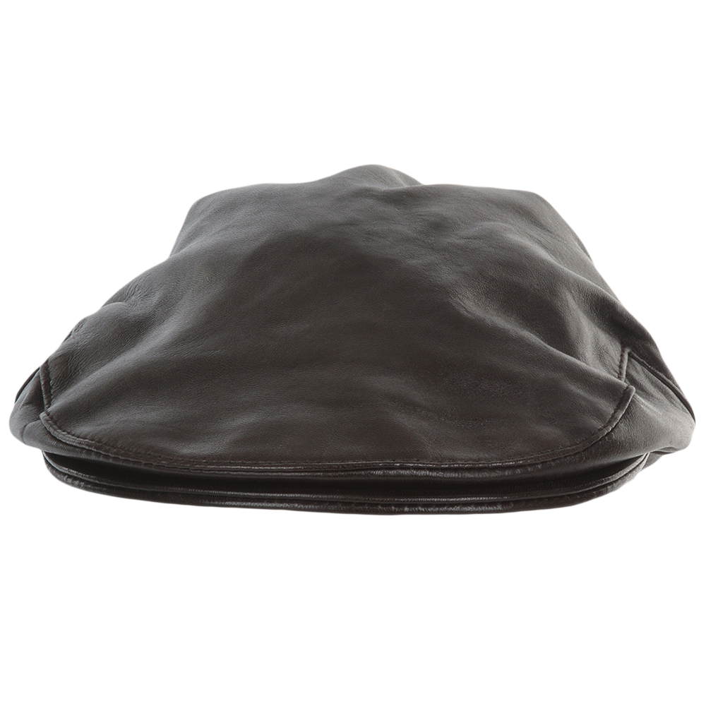 Mens Leather Flat Cap Brown Gatsby