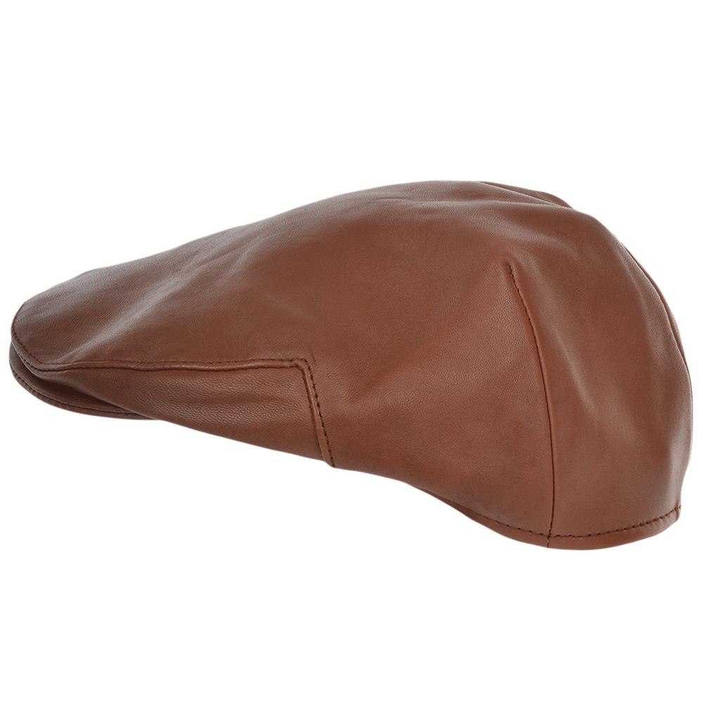 Mens Leather Flat Cap Tan  Gatsby 02eb0e6a904