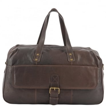 Leather Flight-Cabin Holdall Brown : 8687
