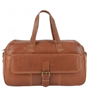Leather Flight-Cabin Holdall Tan : 8687