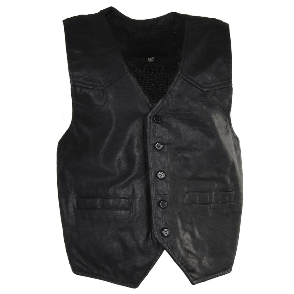Mens Leather Front Waistcoat Black Thomas