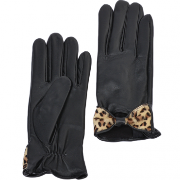 Leather Gloves With Bow Blk/leopard : 777-L
