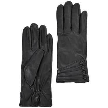 Leather Gloves With Cuff Detail Black : 213