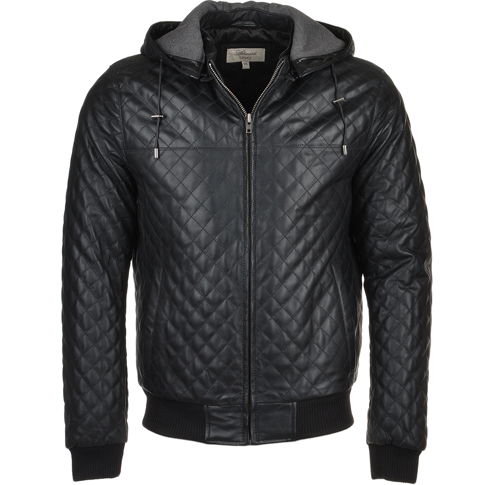 Mens Leather Hooded Bomber Jacket Black Manley