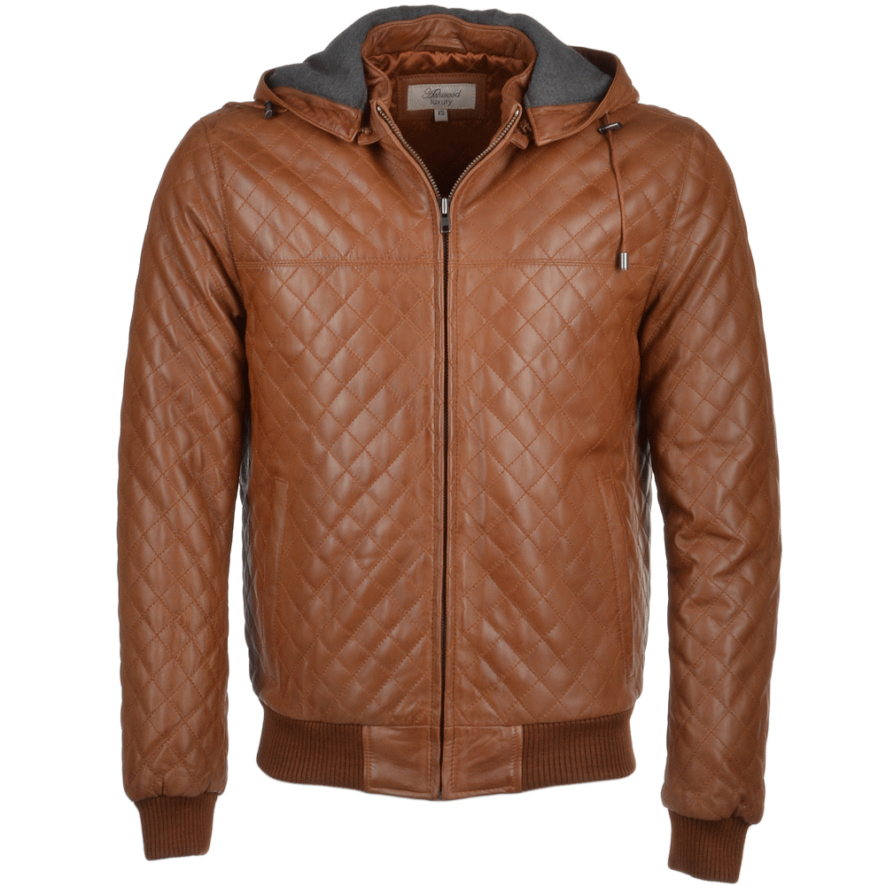 b9b3bdd9 Leather Hooded Bomber Jacket Tan : Manley