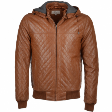 Leather Hooded Bomber Jacket Tan : Manley