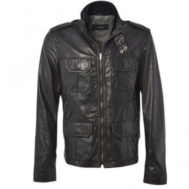 Leather Jacket Black/ani : Royal Safari