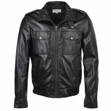 Leather Jacket Black/Vc : London