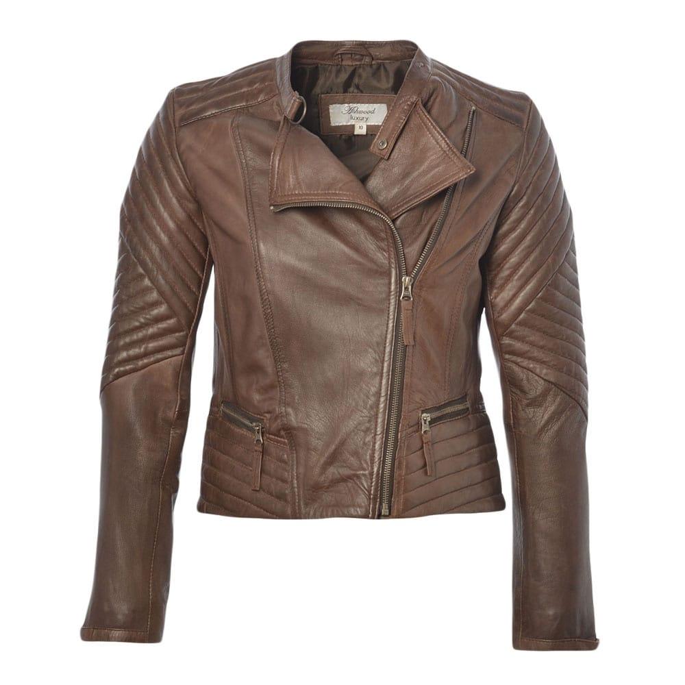 Brown ladies leather jacket