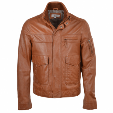 Leather Jacket Cognac/App : Alexander