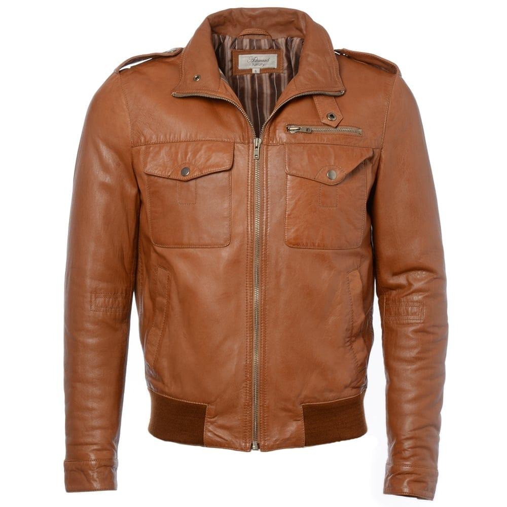 new photos ever popular huge inventory Leather Jacket Cognac/app : London