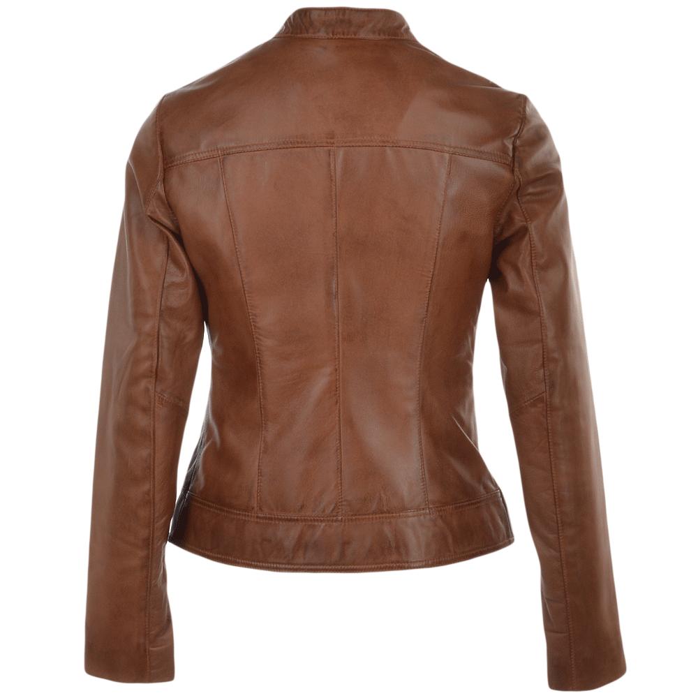 Cognac leather jacket women
