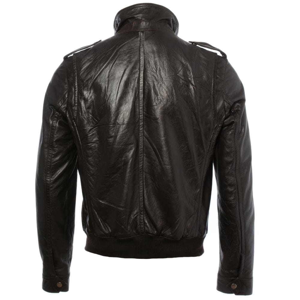 Mens Leather Jacket Dark Brown App London Mens Leather