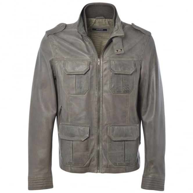 Ashwood Leather Jacket Gray/app : Royal Safari