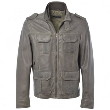 Leather Jacket Gray/app : Royal Safari