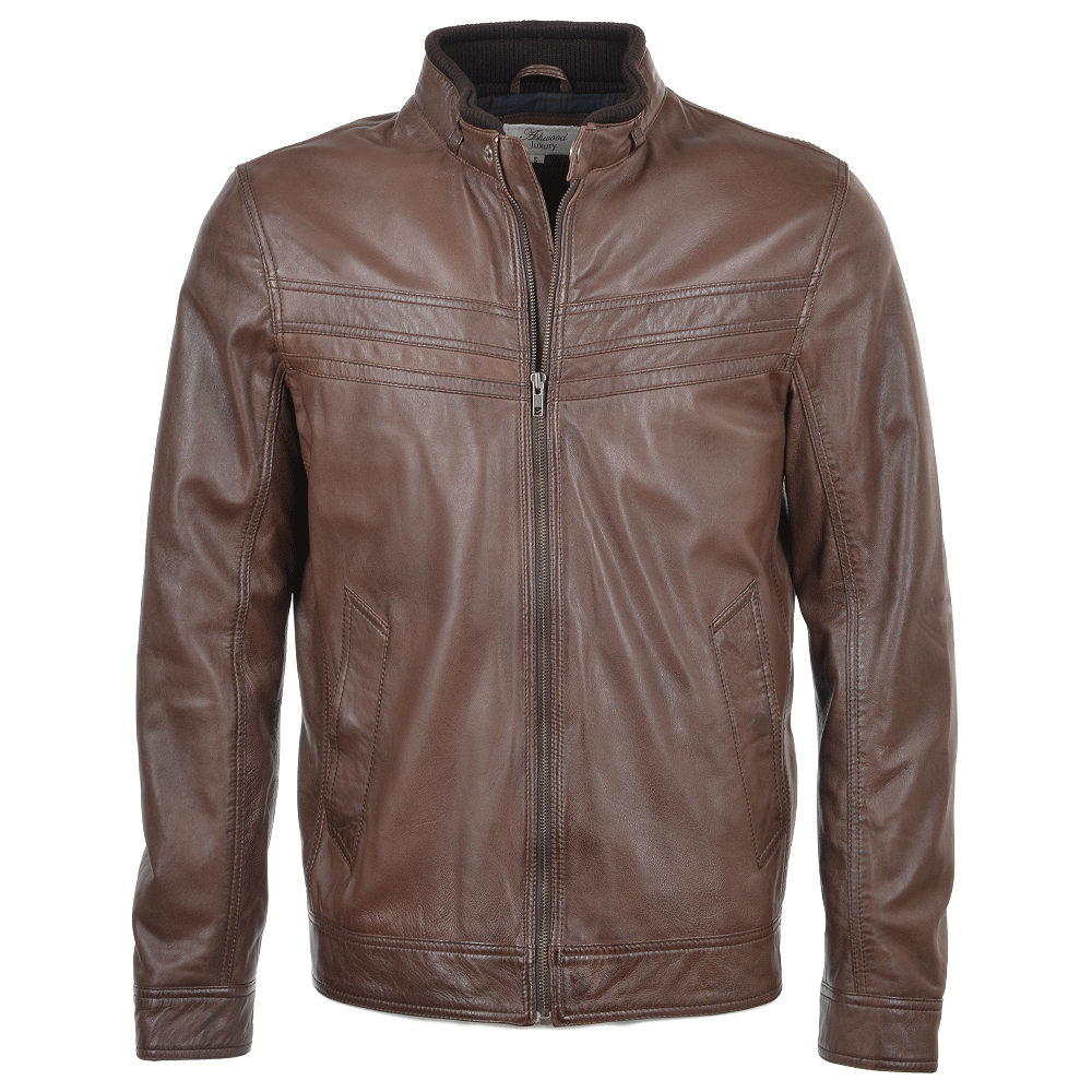 Mens Leather Jacket Mid Brown : Andre | Mens Leather Jackets