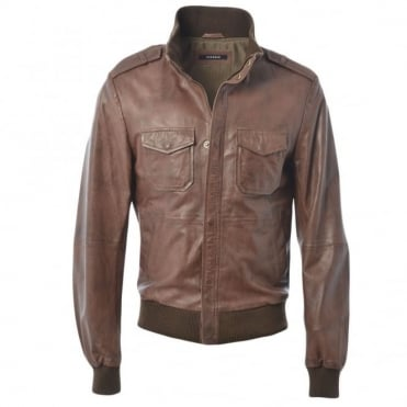 Leather Jacket Mid Brown/ani : Dublin