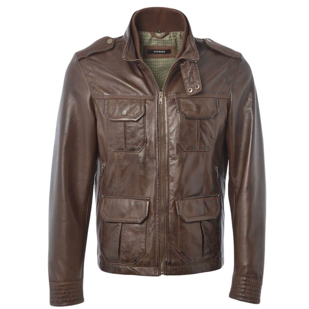 Mens Leather Jacket Mid Brown App Royal Safari Mens