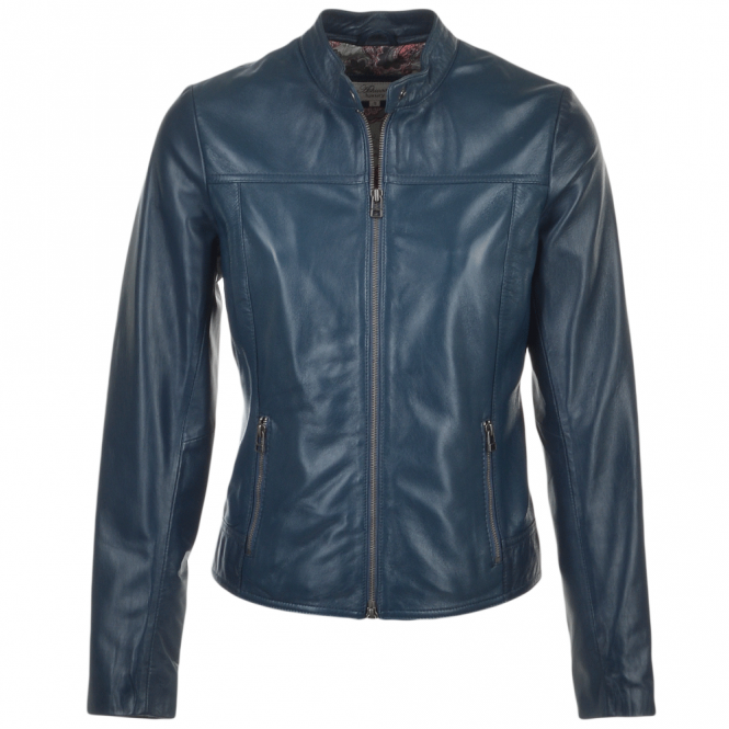 Ashwood Leather Jacket Navy : Kasia