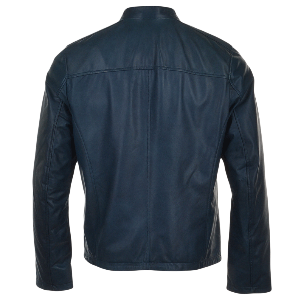Navy leather jackets