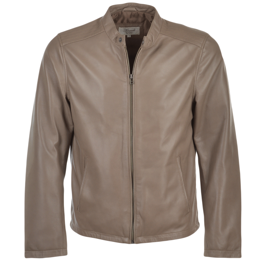 Mens Leather Jacket Taupe Scott
