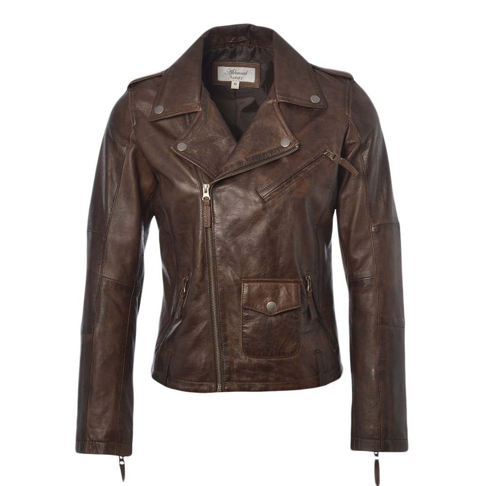 Womens Leather Jacket Veggie Brown Madonna Womens