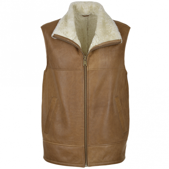 Ashwood Leather Sheepskin Gillet Tan : Norden