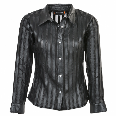 Leather Shirt Black : Alina