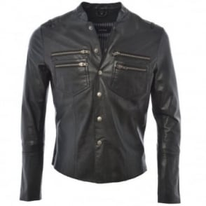 Leather Shirt Jacket Black/ant : Birmingham