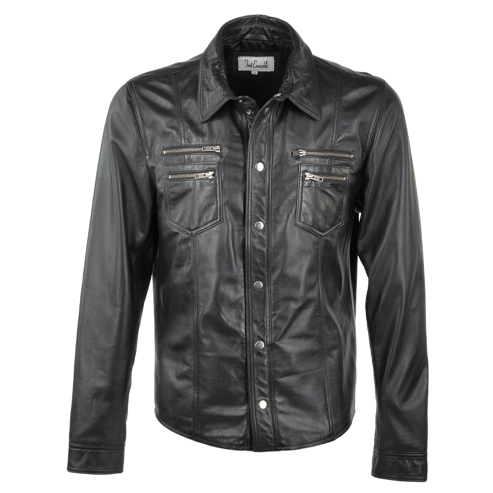 Leather shirt jacket black essex for Leather jacket and shirt