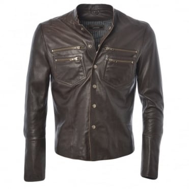 Leather Shirt Jacket D-brown/app : Birmingham