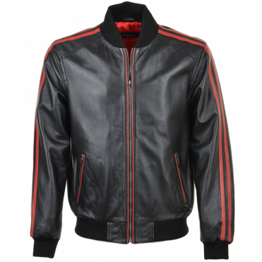 Leather Striped Bomber Jacket Blk/red: Nathan