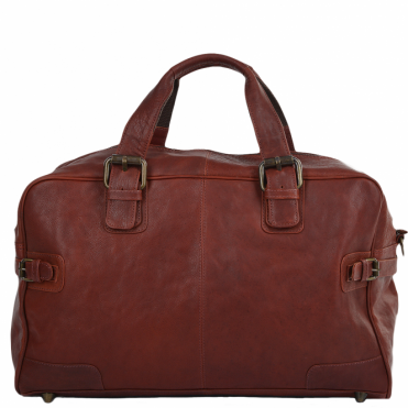 Leather Travel Holdall Dk/rust : Dylan