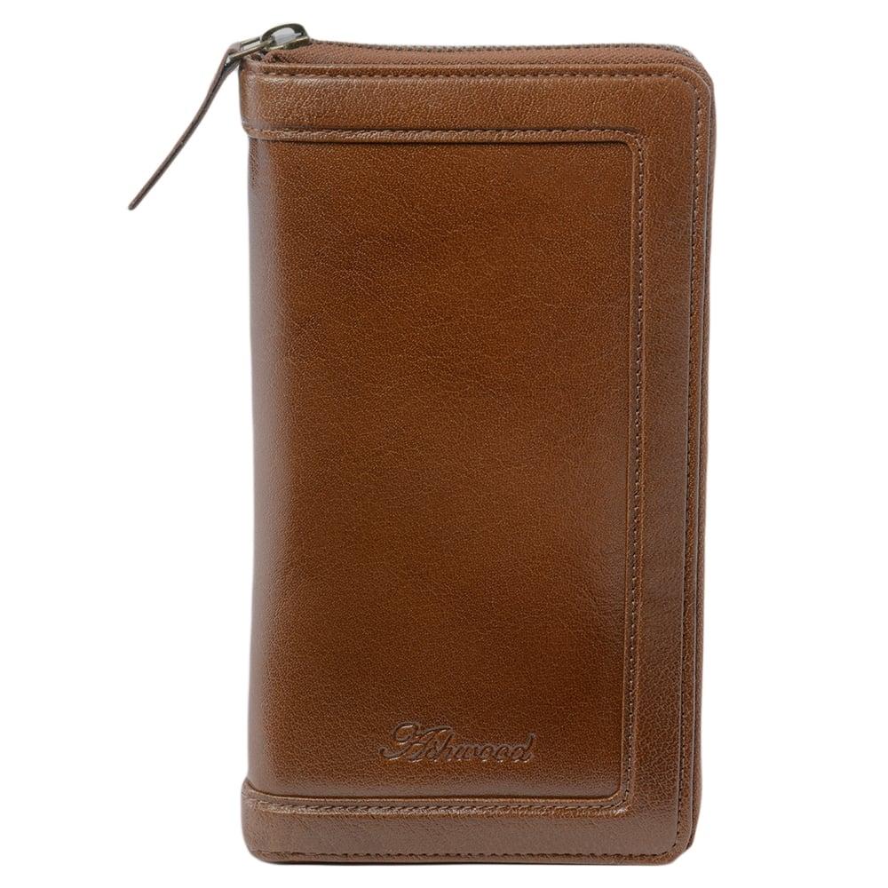 Mens Leather Travel Wallet Chestnut Tw 01