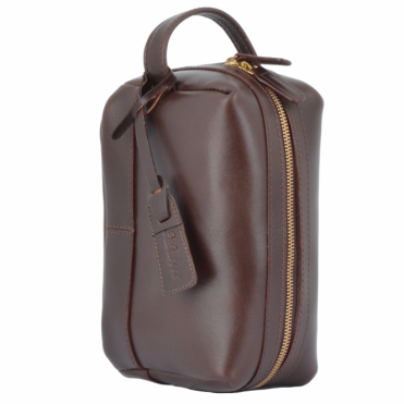 Leather Wash Bag Brown : Rudy