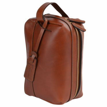 Leather Wash Bag Cognac : Rudy