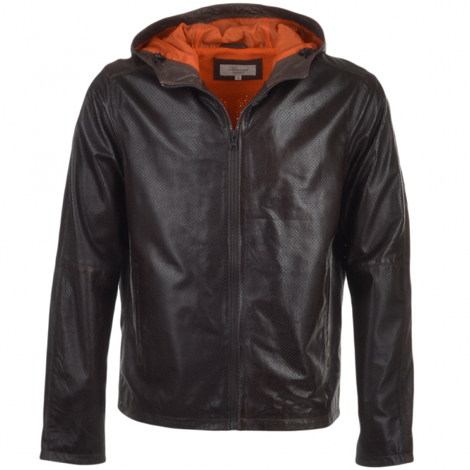 Mens Lightweight Perforated Hooded Leather Jacket Brown