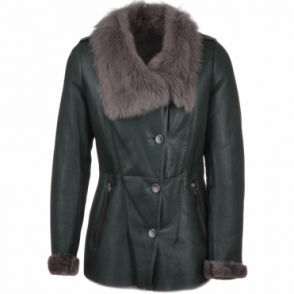 Long Haired Sheepskin Jacket Green : Elysia