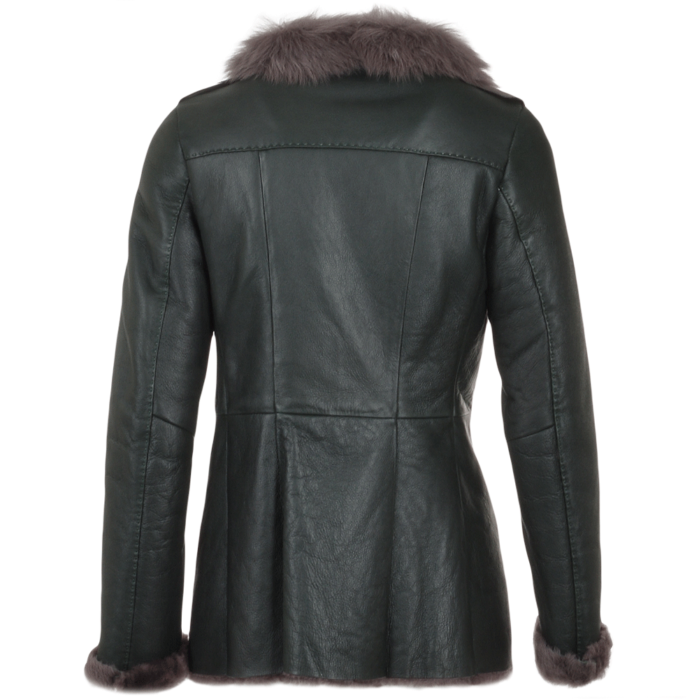 Long Haired Sheepskin Jacket Green Elysia Women S