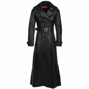 Long Length Double Breasted Trench Coat Black/nap: Maura