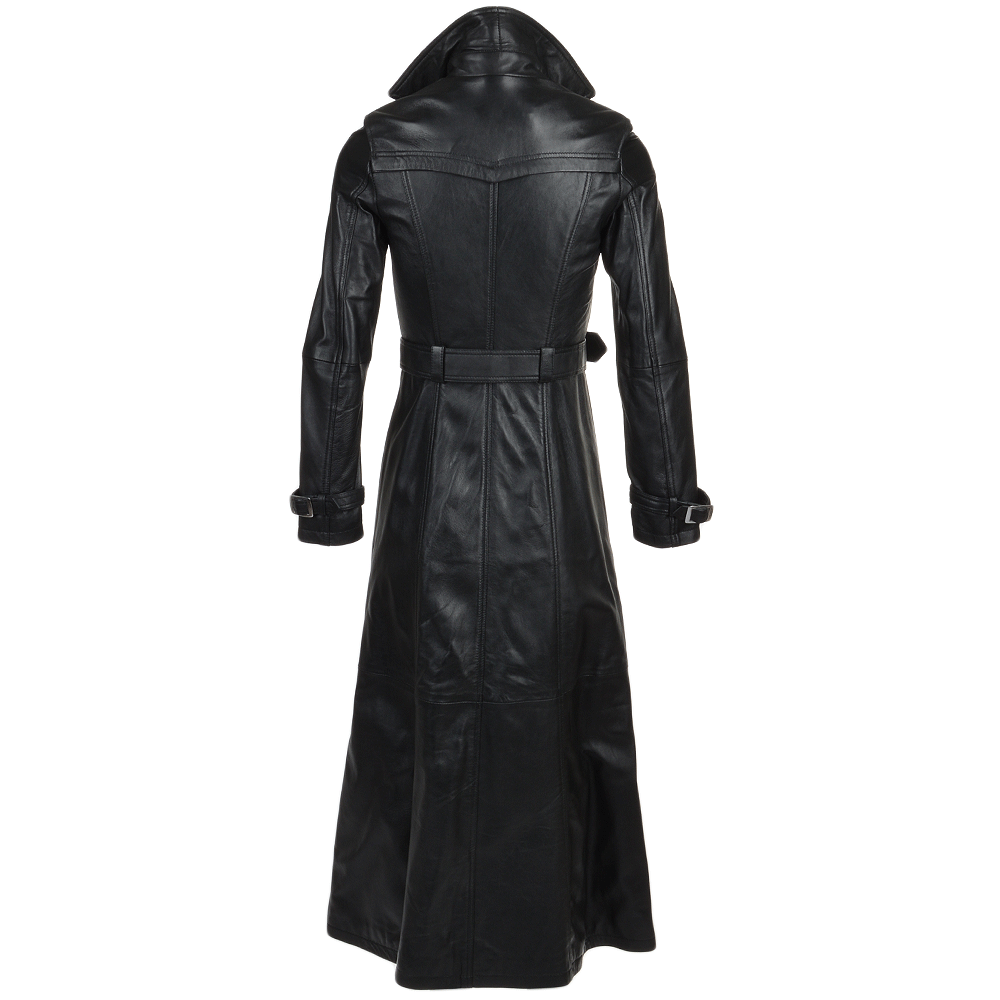 Womens Long Length Double Breasted Trench Coat Black Nap Maura