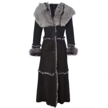 Long Length Sheepskin Coat Black : Sophia