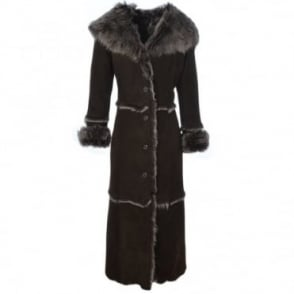 Long Length Sheepskin Coat Brown : Sophia