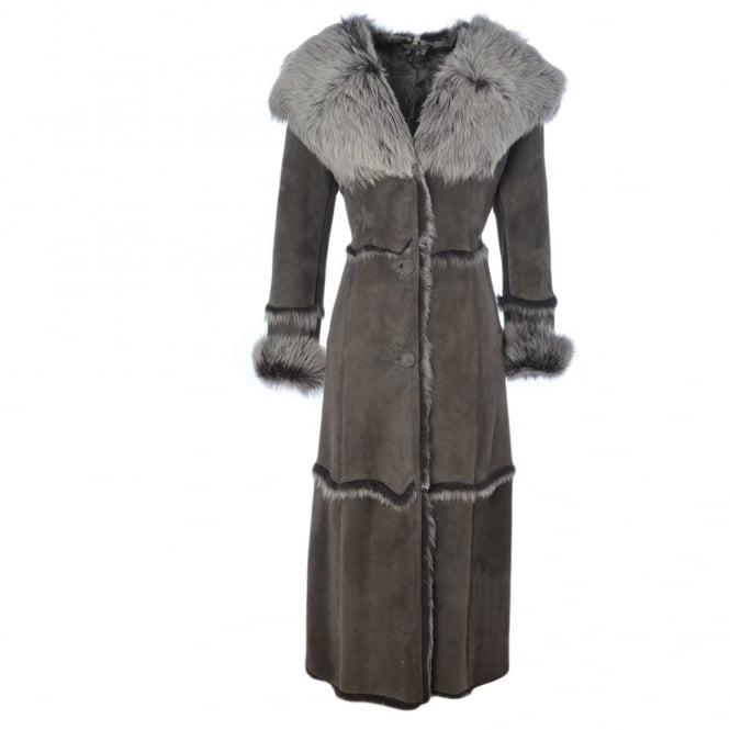 Womens Long Length Sheepskin Coat Gray Sophia Womens