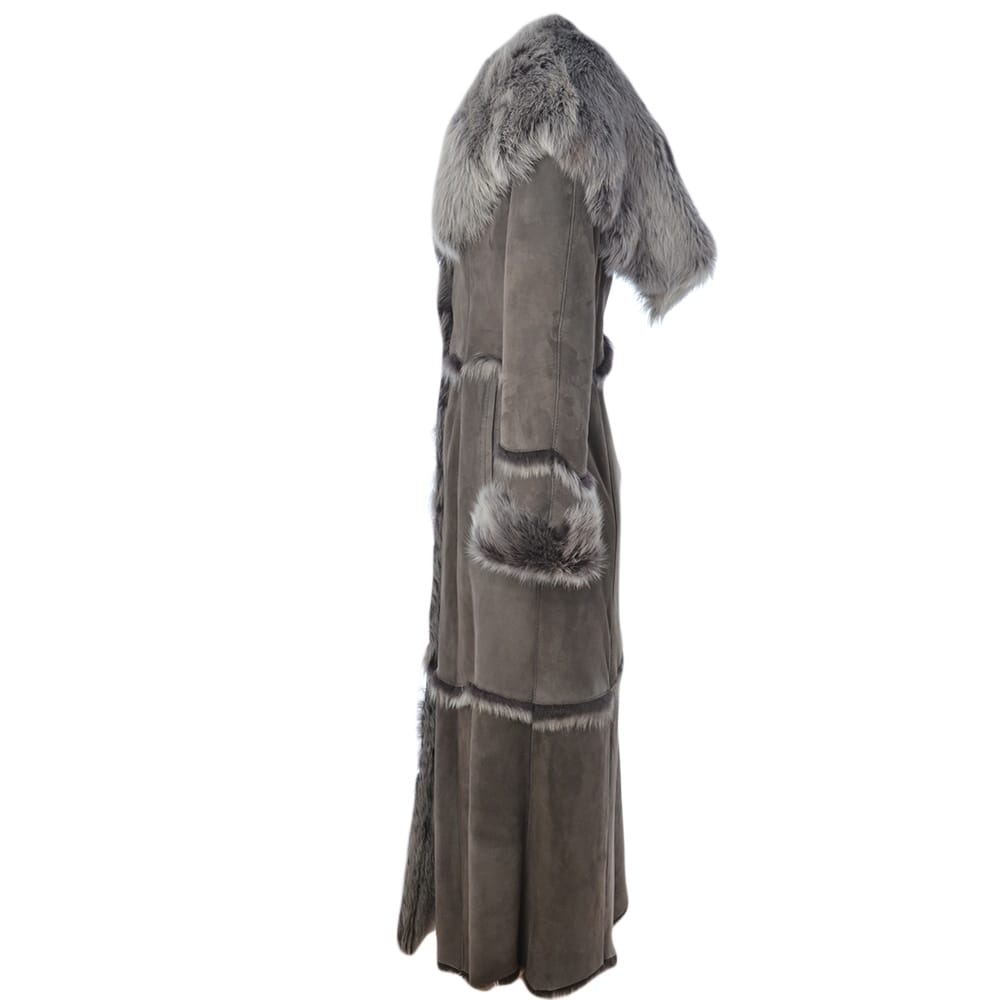 Womens Long Length Sheepskin Coat Gray : Sophia | Womens Sheepskin ...