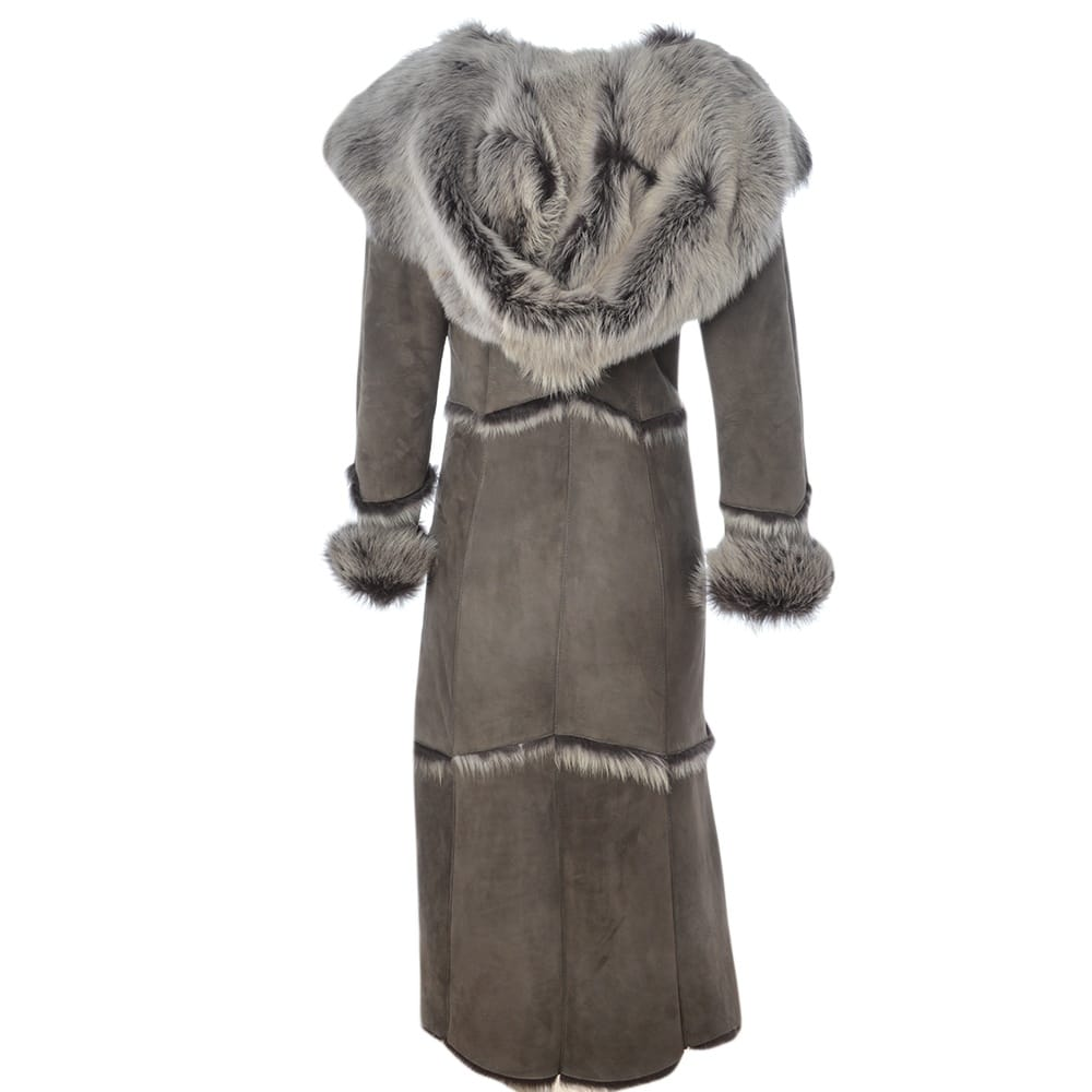 Womens Long Length Sheepskin Coat Gray Sophia Womens