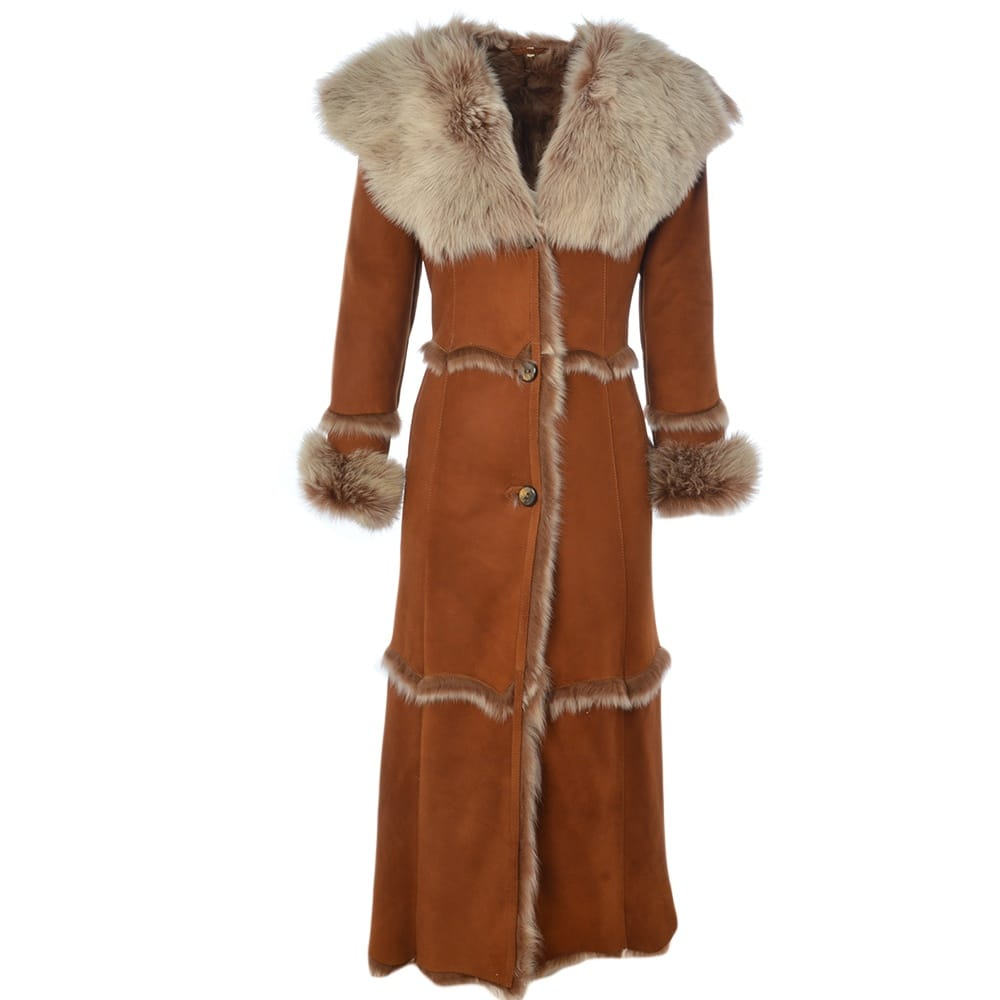 Womens Long Length Sheepskin Coat Black Sophia Womens