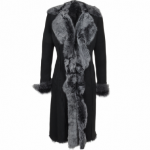 Long Length Toscana Suede Leather Coat Black : Alaska