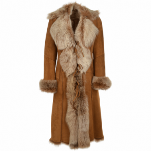 Long Length Toscana Suede Leather Coat Tan : Alaska